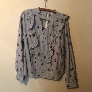 NWT Merona Blue and white stripe blouse